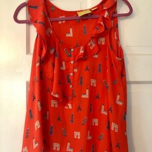 Anthropologie MAVE Red Tank Travel Blouse 4